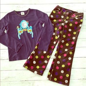 Mini Boden Sequin Shirt and Polka Dot Pants Set